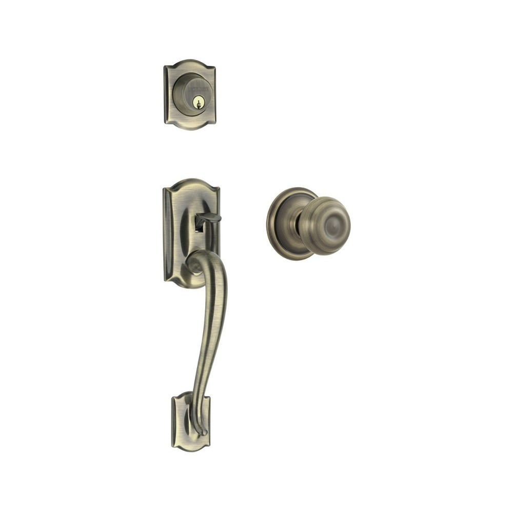 Schlage F Series Camelot Entrance Set With Georgian Knob